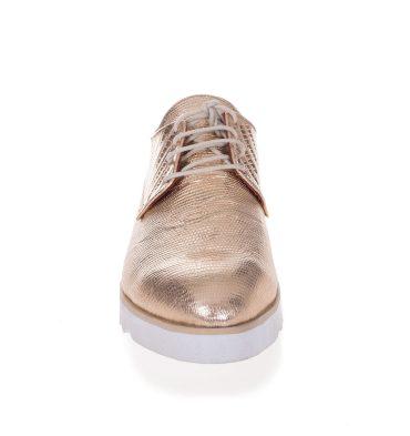 Pantofi oxford aurii piele imprimeu croco