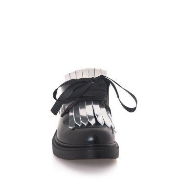 Pantofi oxford negri franjuri argintii