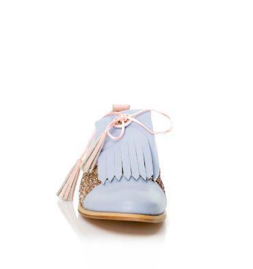 Pantofi oxford piele bleu insertii glitter