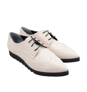 Pantofi oxford piele crem