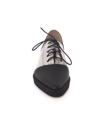 Pantofi oxford piele negru argintiu