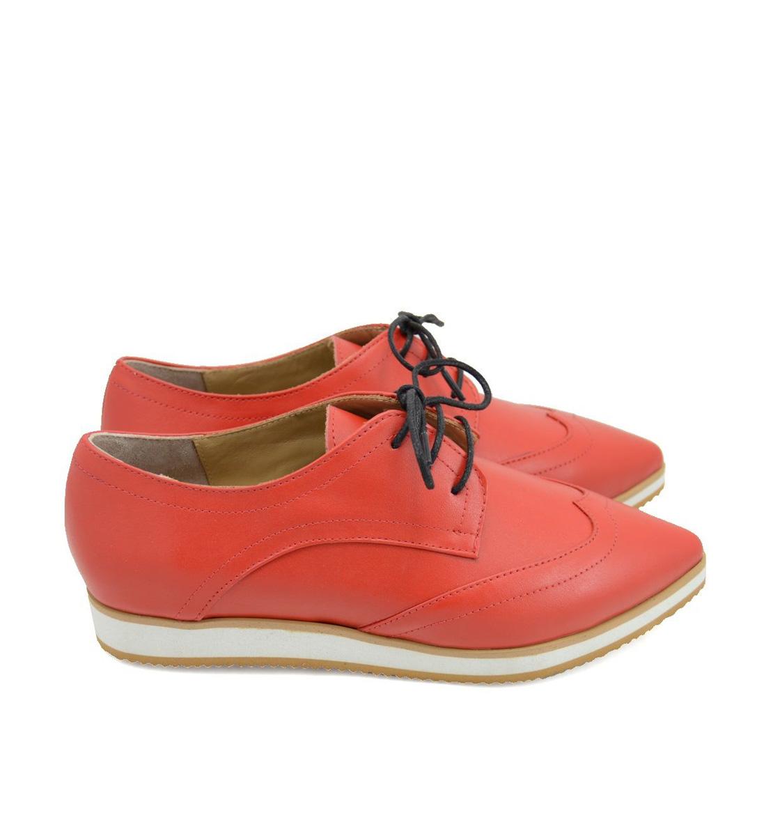 Pantofi Oxford Rosii Piele Stiletto Naturala