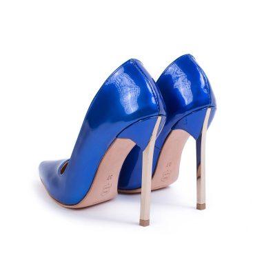 Pantofi piele albastru imperial toc metalic