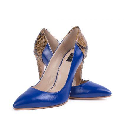 Pantofi piele albastru regal imprimeu sarpe