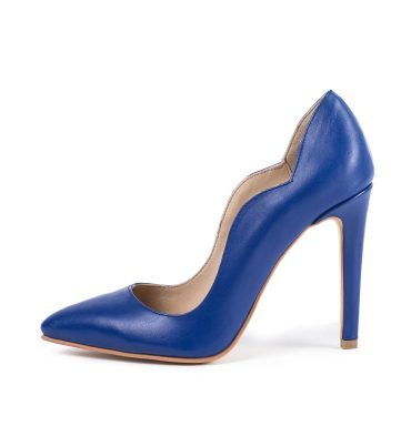 Pantofi piele box albastru imperial