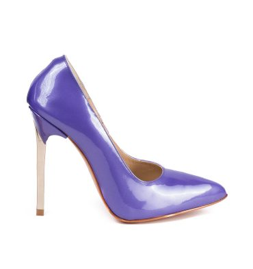 Pantofi piele lac mov lila