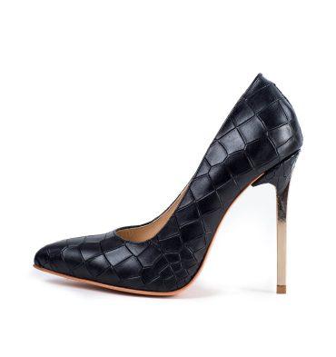 Pantofi piele negru croco toc metalic