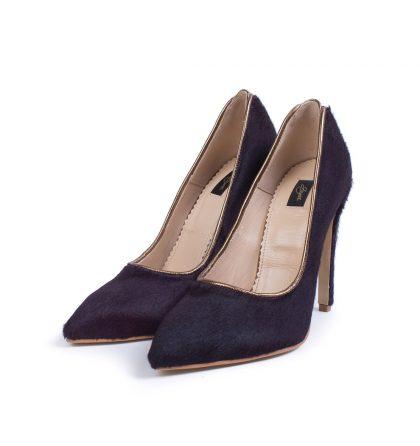 Pantofi stiletto negri piele ponei