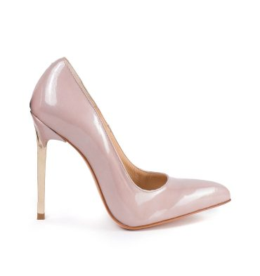 Pantofi stiletto nude piele lac