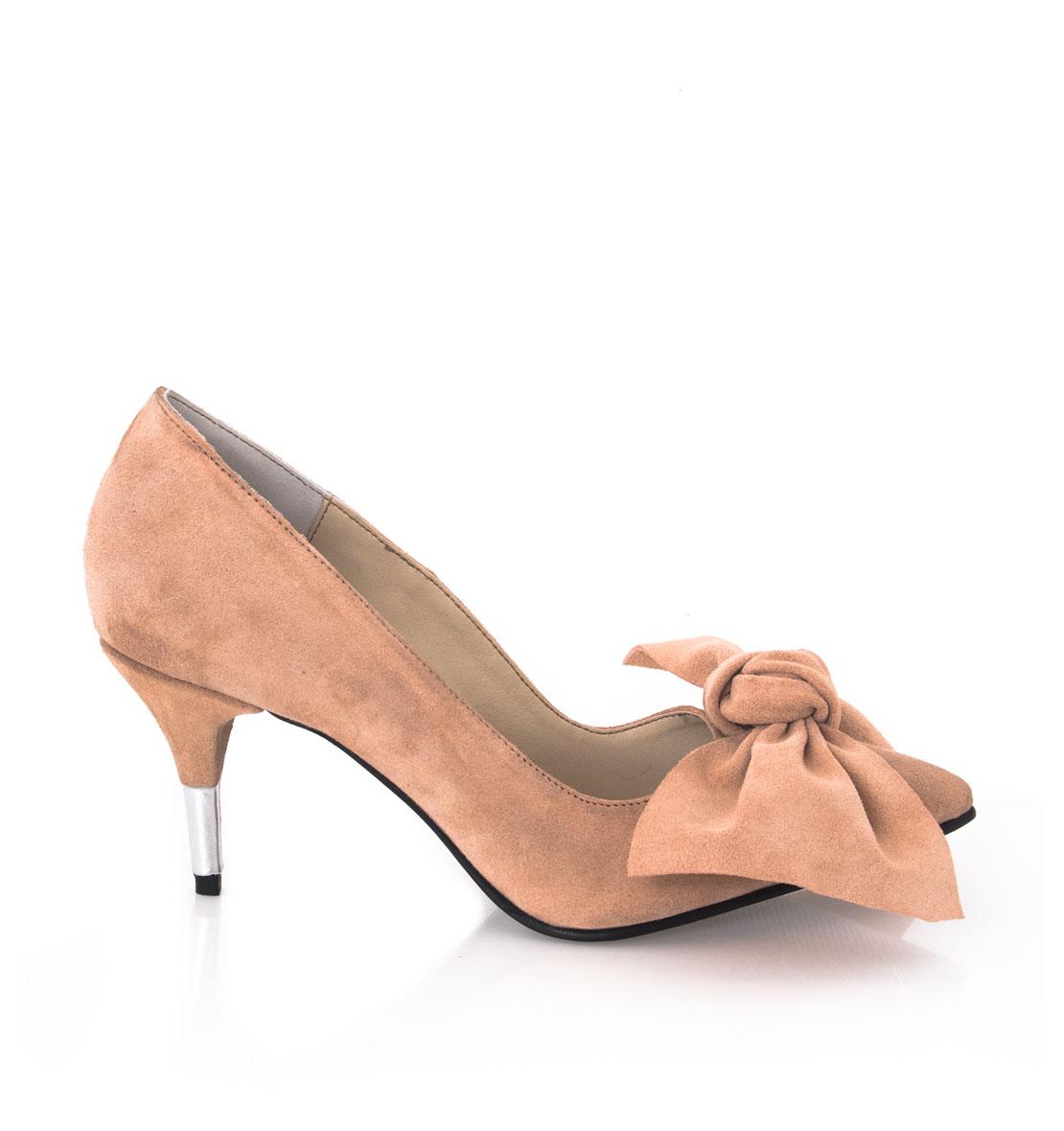 Pantofi Stiletto Roz Pal Piele Intoarsa
