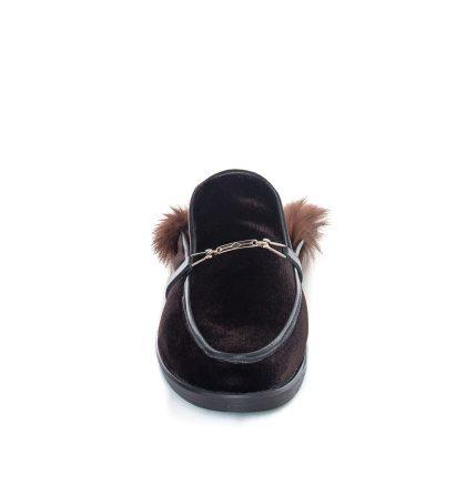 Papuci dama catifea neagra blana