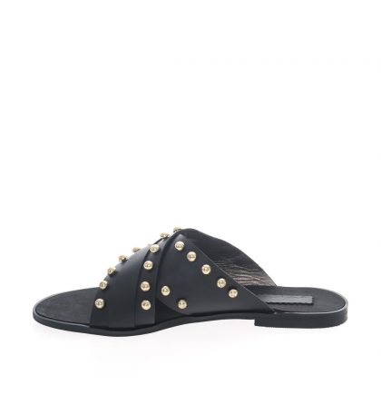Papuci dama negri piele naturala capse