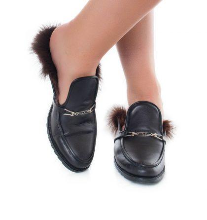 Papuci negri dama piele naturala blana