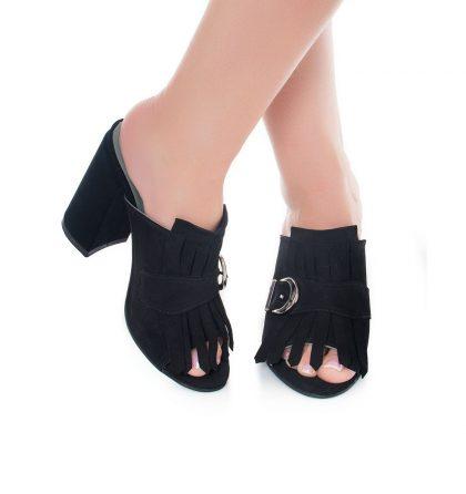 Papuci negri piele intoarsa toc inalt