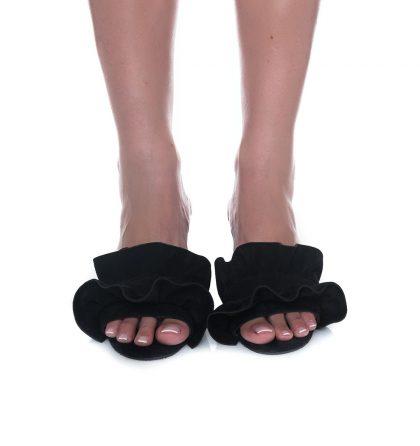 Papuci negri piele intoarsa toc patrat