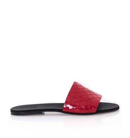 Papuci piele rosu croco