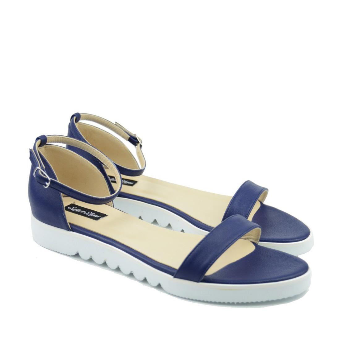 Sandale Albastru Bleumarin Piele Talpa Joasa