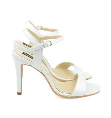 Sandale ivoire piele naturala toc inalt