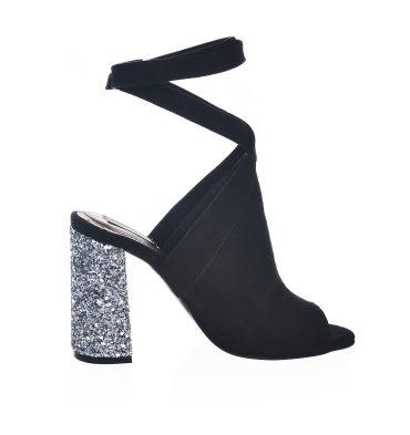 Sandale negre piele intoarsa toc glitter