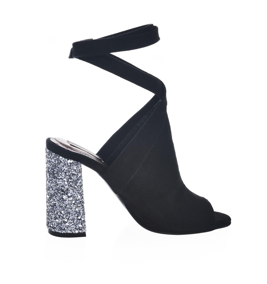 cumpărare acum vânzare la cald online Ordin Sandale negre piele intoarsa toc glitter