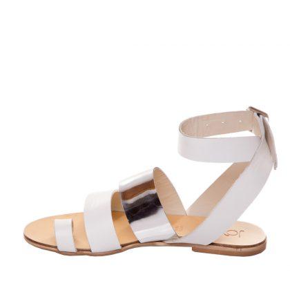 Sandale piele albe talpa joasa