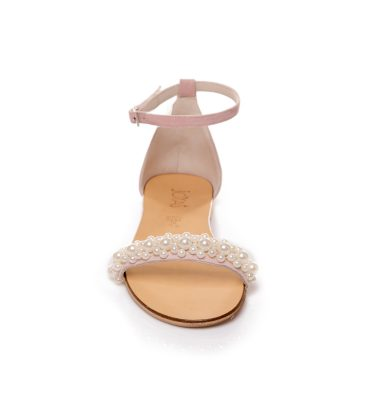 Sandale piele intoarsa roz pudra