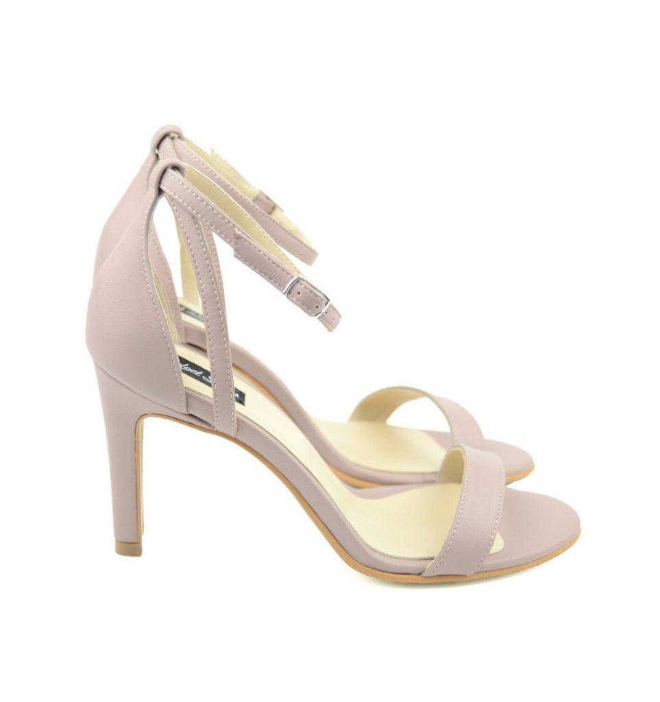 Sandale dama din piele naturala, Alima, roz si bej