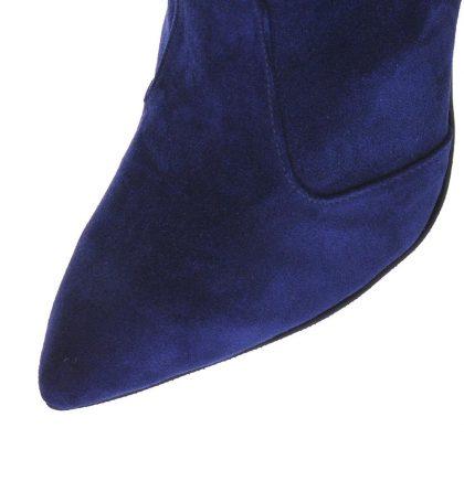 Botine stiletto albastru regal piele intoarsa