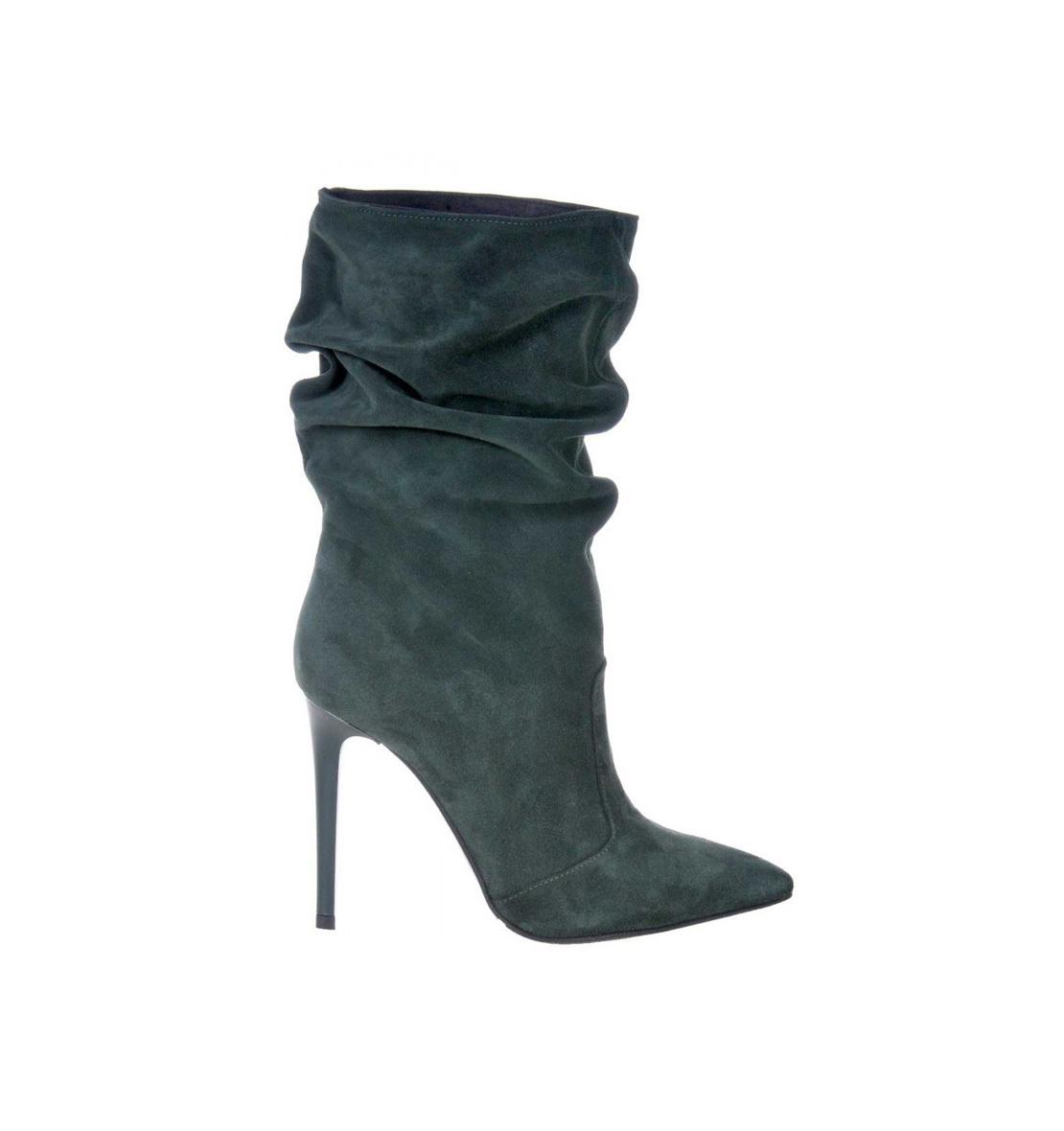 online aici cel mai mic pret magazin din Marea Britanie Botine stiletto verde inchis piele intoarsa