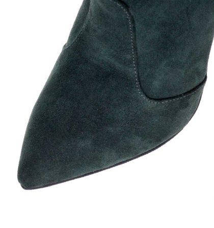 Botine stiletto verde inchis piele intoarsa