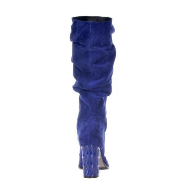 Cizme albastru regal piele intoarsa fronsate