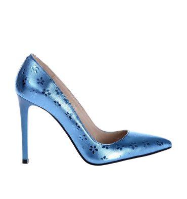 Pantofi stiletto albastru metalizat piele model floricele