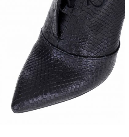 Botine negre stiletto piele imprimeu sarpe
