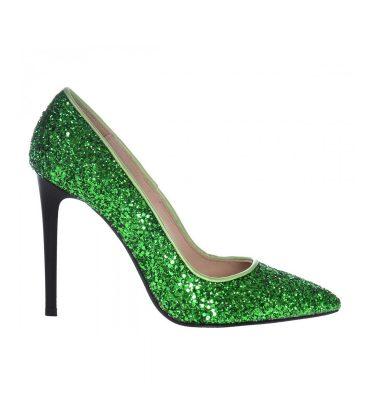 Pantofi glitter verde toc inalt