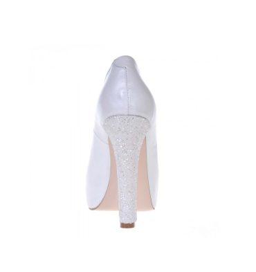 Pantofi mireasa piele alb sidef platforma