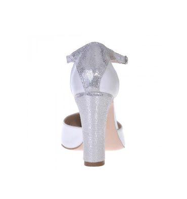 Pantofi piele alb sidefat piele argintie sclipici