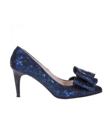 Pantofi stiletto albastru inchis piele imprimeu