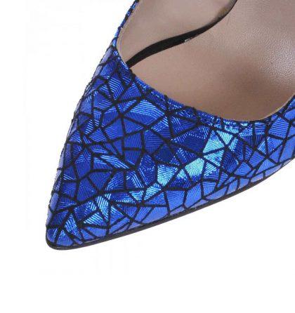 Pantofi albastri piele imprimeu toc inalt