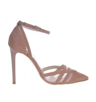 Pantofi bej stiletto piele intoarsa