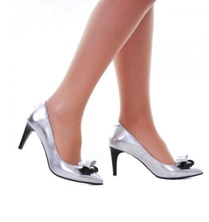 Pantofi stiletto argintii toc jos