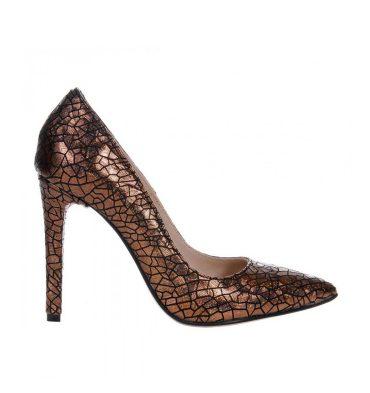 Pantofi stiletto piele imprimeu aramiu