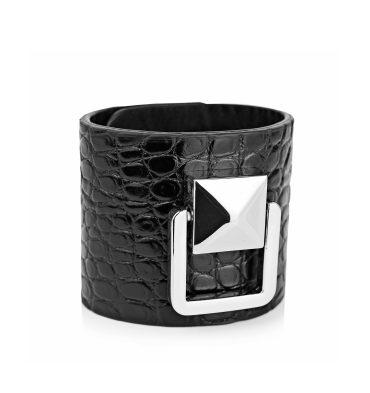 bratara-neagra-piele-croco-accesoriu-metalic-1