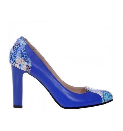 Pantofi albastri office toc gros piele naturala