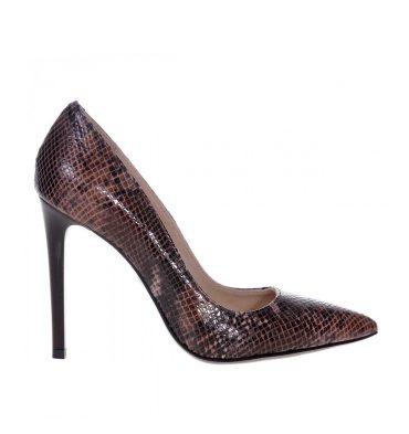 Pantofi maro stiletto piele imprimeu sarpe