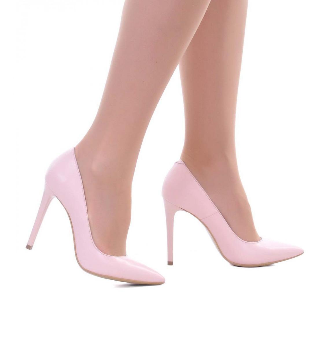 Pantofi Roz Pal Stiletto Piele Naturala