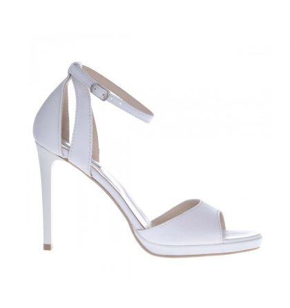 Sandale albe mireasa toc inalt