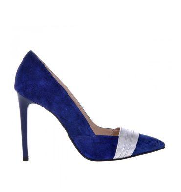 Pantofi albastri piele intoarsa insertii argintii