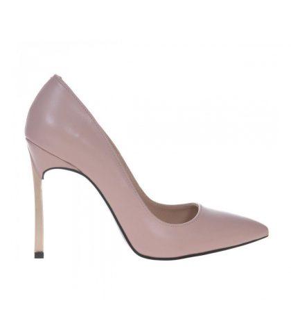 Pantofi bej stiletto toc metalic