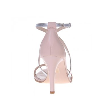 Sandale piele nude piele argintie toc inalt
