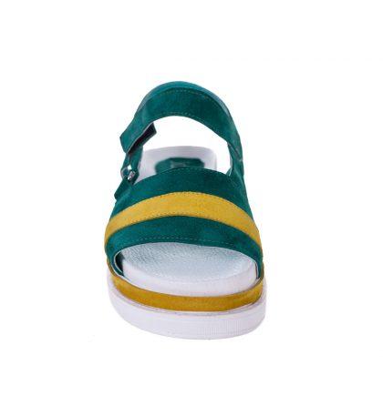 Sandale dama piele verde piele galbena